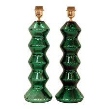 green mirrored pair of murano glass table lamps