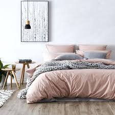 pink duvet set cover cotton girls white solid color bed sheets dusty single quilt rose
