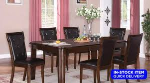 clean and sophisticated the pam collection dining set from cosmos is loaded with features the table has molding detailing and features round indented