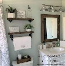 set of 2 bathroom floating shelves wood