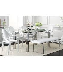 Mesa De Comedor De Diseño Yenila 140x80, Acero Inoxidable, Cristal