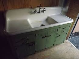 antique white porcelain cast iron kitchen sink with double