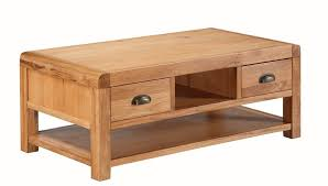 oakridge solid oak 2 drawer coffee table
