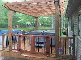 hot tub deck. A Beautiful Patio Deck With Hot Tub And Child Safety Fence