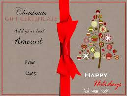 christmas gift certificate templates christmas printable a drawing of a christmas tree and a red ribbon printable gift certificate on textured