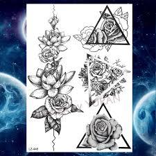 černá Růže 3d Vodotěsné Dočasné Tetování Ilustrace Samolepky Pivoňka