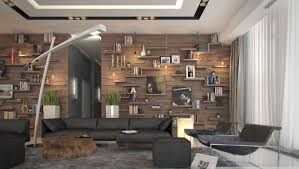 rustic living room wall decor. Modern Rustic Apartment Living Room Interior Decor With Wood Covering Panels Plus Wall Shelving Units For Picture Frame Books