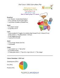 2100 Calorie Diet Chart Chef Solus 2000 Calorie Menu Plan For Kids 9 Years And Older