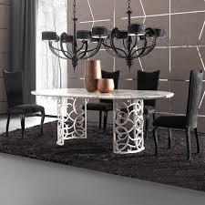 italian double pedestal iron marble dining table set