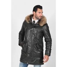 men s black padded and quilted fox fur hood lined real trench leather coat