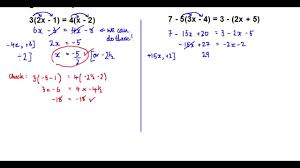 solving linear equations brackets both sides
