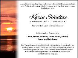 Anzeige für Karin Schultze