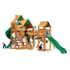 gorilla playsets treasure trove i wooden playset with 2 slides and clatter bridge 01 1021 ap the home depot