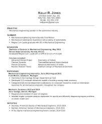 Mechanical Engineer Resume Sample Mechanical Engineering Resume