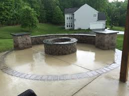 concrete patio with fire pit. Exellent Pit Concretepatiostoneseatingwallpillarsfirepit On Concrete Patio With Fire Pit I