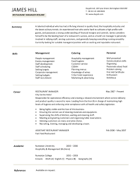 Fast Food Restaurant Manager Resume Download Restaurant Manager Resume Sample For Free