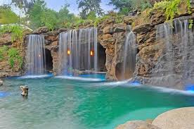In ground pools with waterfalls Natural Stone Amazing Pool Waterfalls Design Pool Water Features Deavitanet Unique Pools With Waterfalls Cool Water Features For The Patio