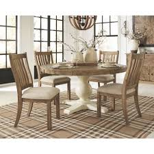grindleburg light brown 6 pc round drm table 4 uph side chairs jpg