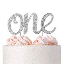 Amazoncom 1st First Birthday Cake Topper Decoration Silver One 1