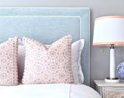 cushion headboard queen. Delighful Cushion READY TO SHIP Upholstered Headboard Queen Size Oxford Shape Spa Colored  Chenille Fabric Inset Contrasting White Welting And Cushion Headboard D