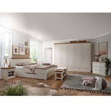Landhaus Schlafzimmer Vabello In Creme Weiß Und Eiche Mit Doppelbett