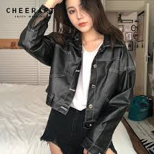 cheerart cropped black leather jacket women motorcycle biker jacket pu leather female short coat clothes 2018 autumn outdoor jackets carhart jackets from