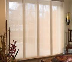 these are called 'panel track shades' - LOVE this look for sliding glass  doors