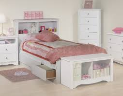 Bedroom: Appealing White Kids Twin Bed With Pink Bedding Also ...