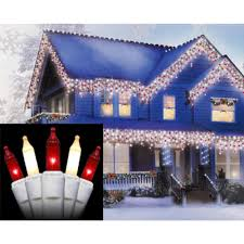 Red Lights White House Sienna Set Of 100 Red And Frosted Clear Mini Icicle Christmas Lights White Wire