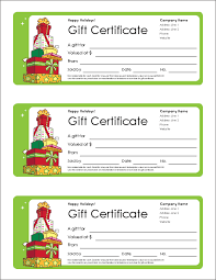 gift certificate screenshot