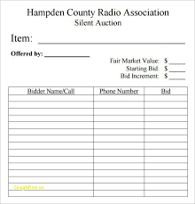 Silent Auction Bid Numbers Fresh Auction Bid Numbers Template Free