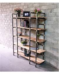 Furniture Pipeline Manhattan Modern Industrial Etagere Bookcase (Brushed  Brass Gray Steel Combo with Natural wood