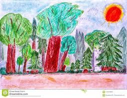 Dziecko Ołówkowy Rysunek Las Ilustracji - Ilustracja złożonej z obraz,  nikt: 124619992