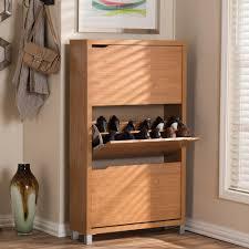 baxton studio simms wood modern shoe cabinet in white