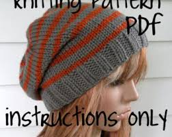 Easy Knit Hat Pattern Free Magnificent Knit Slouchy Beanie PATTERN Knitted Hat With Aztec Style