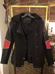 bcbg xs black leather jacket with red elbow patches and quilt