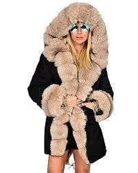 intention camouflage 2 puluo women plus size fleece hood jacket faux fur coat long parka