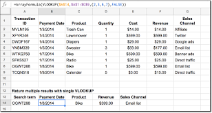 return multiple values with single vlookup formula in google sheets
