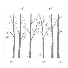 thin birch tree wall decal  on silver birch wall art stickers with birch tree wall decals sticker set