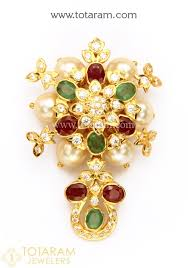 22k gold pendant with ruby emerald cz japanese culture pearls