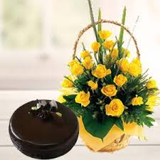 fresh yellow roses with chocolate cake unique birthday gifts bangalore