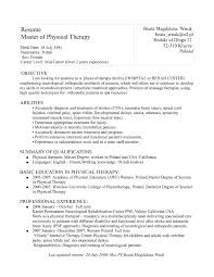 Physical Therapy Resume Resume Cover Letter Template