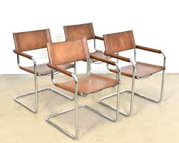 set of 4 mart stam s34 cognac saddle leather dining chairs