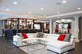 Image Modern View In Gallery Cozy Rec Room With White Lshape Couch Decoist Rec Room Design Ideas For Some Fancy Time At Home