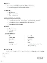 Best Freshers Resume Format B Com Freshers Resume Samples Best