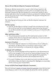 Effective Resume Objective Under Fontanacountryinn Com