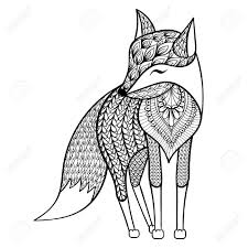 Zentangle Vector Happy Fox For Adult Anti Stress Coloring Pages