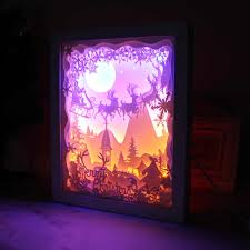 3d Photo Light Box Merry Christmas 3d Shadow Box Paper Carving Papercut Led Night Lamp Light Santa Claus Elk Toys Gifts Bedroom Coffee Decoration