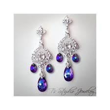 plum purple crystal chandelier earrings