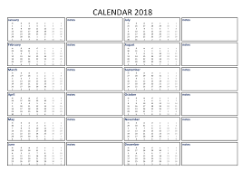Free 2018 Calendar Excel Template A3 With Notes Templates At